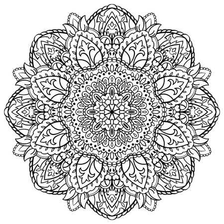 Floral black and white mandala. Ornament for coloring books. Round element for design. Sketch for tattoo. Oriental pattern. Vector Illustration