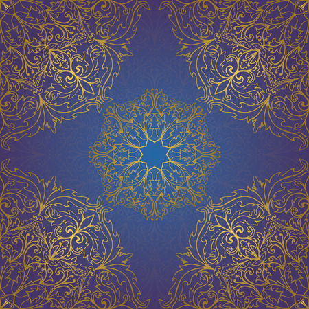 bedcover: Seamless vector blue background with contour element. Chic ornament with mandalas. Template for fabric, wallpaper, textiles, bedcover, carpet, tile, shawl, cushion. Stylized colorful baroque pattern. Illustration