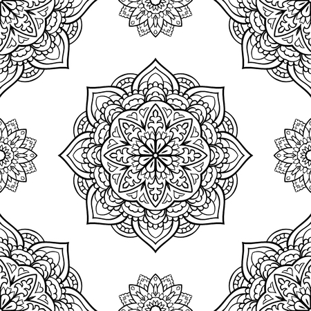 shawl: Oriental seamless pattern of mandalas. Vector black and white background. Template for carpet, wallpaper, textile, shawl.