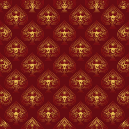 bedspread: Seamless, vector background with gold suits of playing cards. Pattern of ornamental spades. Template for wallpaper, textile, bedspread, carpet, wrapping paper.