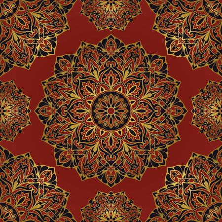 gold floral: Rich dark oriental medieval ornament with a gold outline. Seamless pattern of circular elements. Vector design of mandalas.  Template for textiles, shawl, cover, carpet, wallpaper.