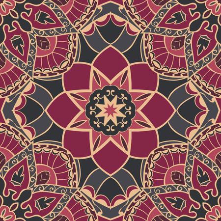 burgundy background: Oriental seamless pattern of mandalas. Vector burgundy background. Template for textile, carpet, wallpaper, stained glass, shawls.