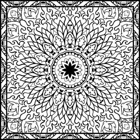 coverlet: Oriental filigree pattern. Vector black and white ornament. Template for textile, carpet, coverlet, shawls.