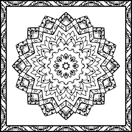 coverlet: Oriental pattern of mandalas. Vector black and white background. Template for textile, carpet, coverlet, shawls.