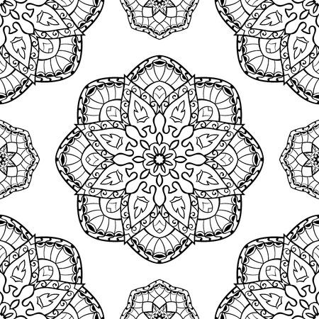 white carpet: Oriental seamless pattern of mandalas. Vector black and white background. Template for textile, carpet, wallpaper, shawls. Illustration