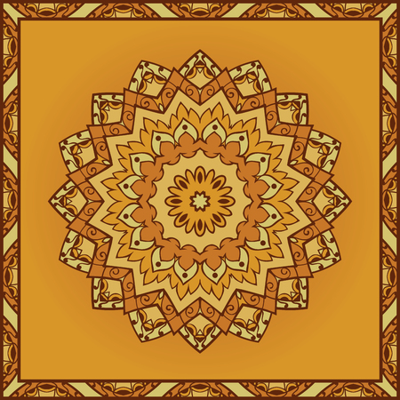 coverlet: Oriental yellow pattern of mandala. Vector orange background. Template for textile, carpet, coverlet, shawls.