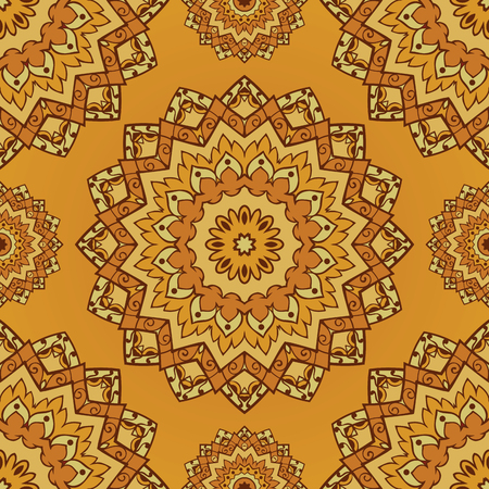coverlet: Oriental yellow pattern of mandala. Vector seamless orange background. Template for textile, carpet, wallpaper, coverlet, shawls.