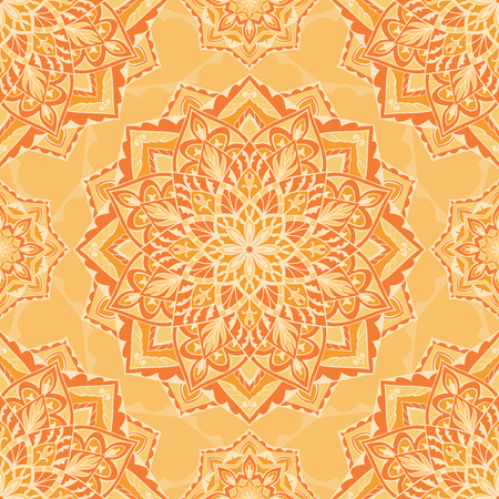 cushions: Oriental orange ornament. Seamless vector design of mandalas. Template for textiles, shawl, linen, carpets, wallpaper, cushions.