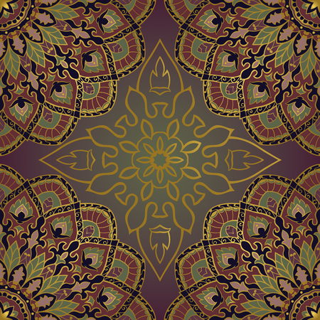 rich wallpaper: Oriental seamless pattern of mandalas. Vector rich dark background. Template for textile, carpet, wallpaper, shawls.