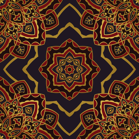 bedding: Vector seamless pattern of mandalas. Oriental gold ornament with eyes. Template for textiles, wallpaper, shawls, carpets, pillowcase, bedding, wrapping paper.