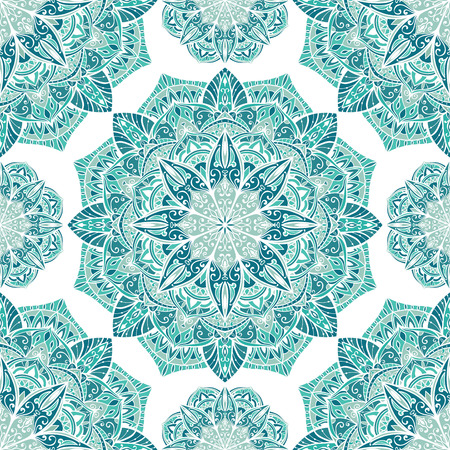 Seamless winter ornamental background. Template for carpet, shawl, textile, cloth. Stylized turquoise mosaic. Filigree oriental blue pattern of mandalas. Stock Illustratie