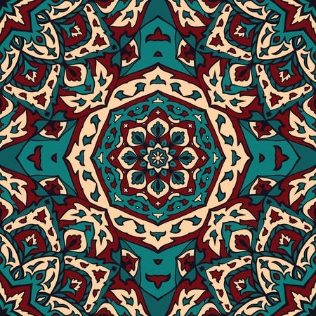 bedcover: Seamless vector turquoise background with round element. Ornament with mandalas. Template for fabric, wallpaper, textiles, bedcover, carpet, tile, shawl, cushion. Stylized colorful ethnic pattern.