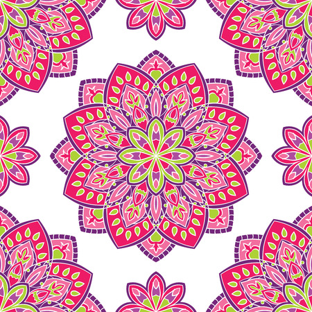 linens: Vector seamless pattern with stylized floral mandalas. Gentle ornament on a white background. Oriental template for design textiles, wallpaper, carpet, curtain, pillowcase, linens.