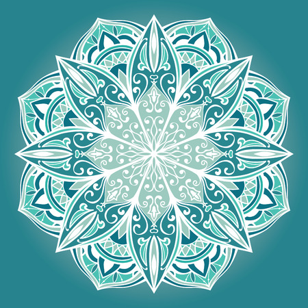 filigree: Vector filigree mandala. The turquoise stylized pattern.