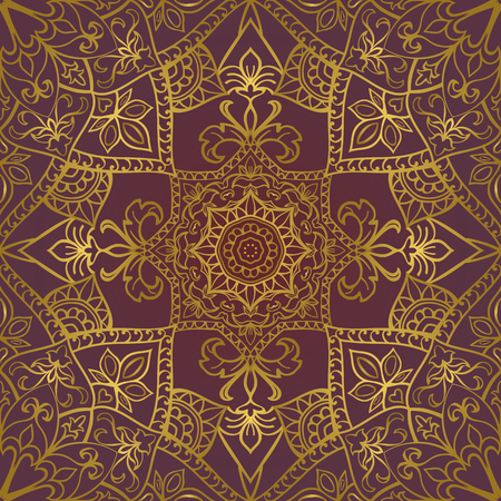 lilas: Rich gold ornament on a lilas background. Vector seamless ornate oriental pattern. Template for textile. Illustration