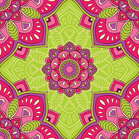 green carpet: Elegant seamless oriental ornaments of mandalas on a green background. Bright vector pattern for carpet, wrapping, wallpaper, textile.