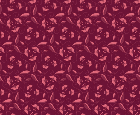 Stylized floral ornament. Vector seamless burgundy pattern. Template for textile, shawl, wallpaper, carpet.