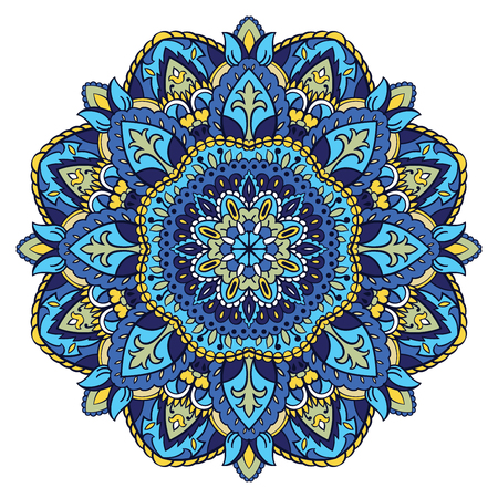 Traditional blue pattern. Round decorative element for design. Vector floral mandala.