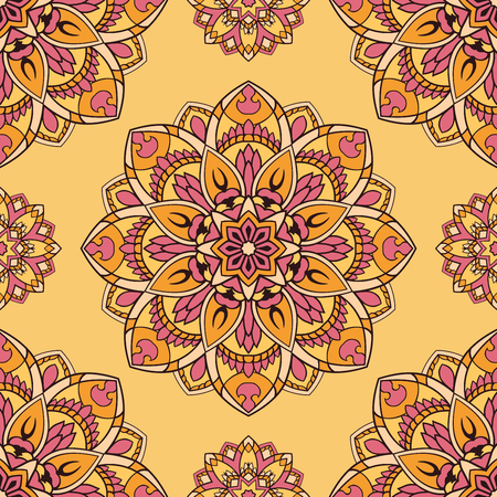 shawl: Oriental pink and yellow ornament. Seamless vector design of mandalas. Template for textiles, shawl, linen, carpets, wallpaper, cushions.
