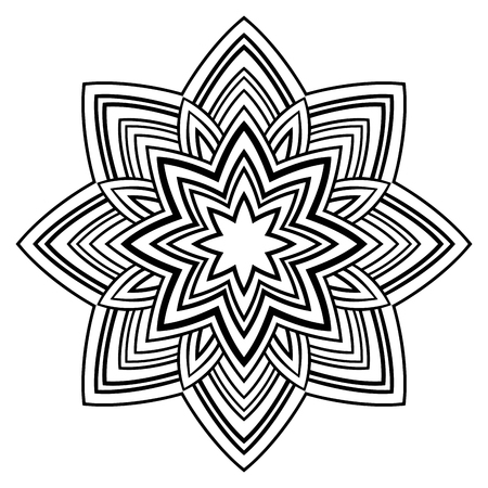 simple: Vector simple mandala on a white background.  Oriental ornament. Round element for design. Sketch for tattoo.