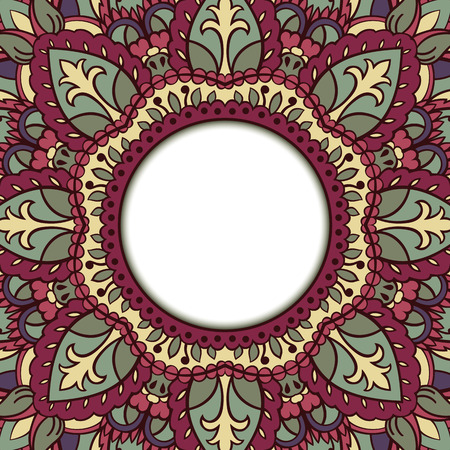 dvd cover: Oriental colorful ornamental frame. Background with filigree ornaments and place for text. Vector card. Book cover, vinyl cover, CD, DVD cover. Illustration