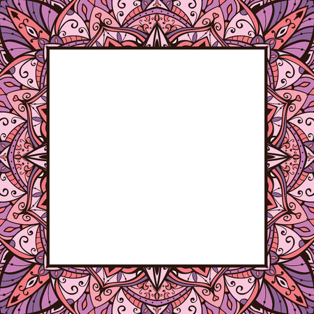 lilas: Pink and lilas ornamental frame. Background with filigree ornaments and place for text. Vector card.