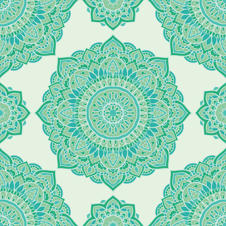 Seamless green ornamental background. Template for carpet, shawl, textile, cloth. Stylized turquoise mosaic. Filigree oriental pattern of mandalas. Vector Illustration