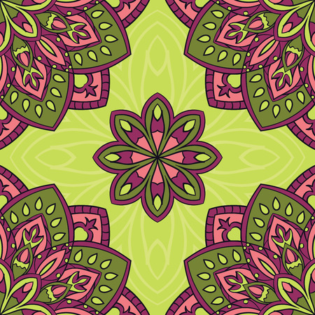 green carpet: Vector seamless pattern with stylized floral mandalas. Gentle ornament on a green background. Oriental template for design textiles, wallpaper, carpet, curtain, pillowcase, linens. Illustration