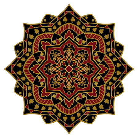 Black and red mandala. Oriental, elegant ornament with a gold contour on white background.