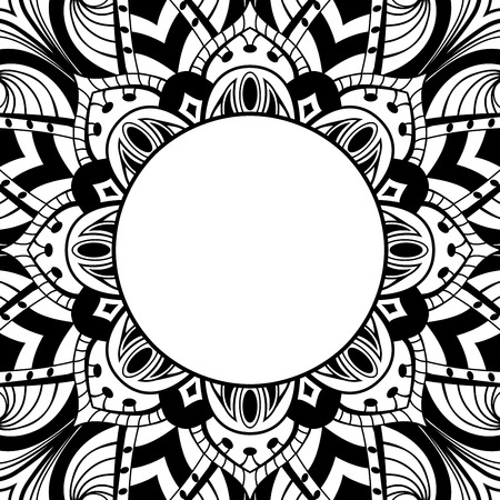 dvd cover: Oriental, black-white frame. Background with ornament and place for text. Vector card. Vinyl cover, CD, DVD cover. Template for coloring book.