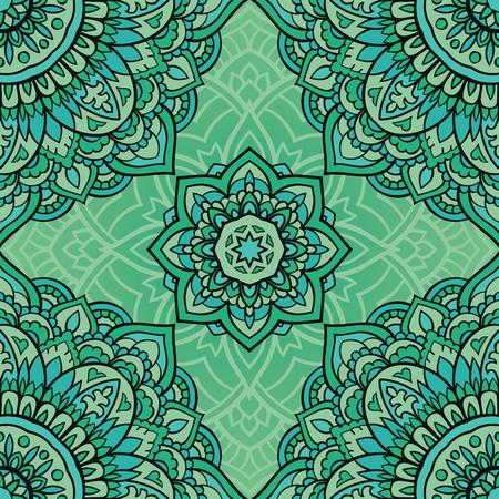 green carpet: Seamless green ornamental background. Template for carpet, shawl, textile, cloth. Stylized turquoise mosaic. Filigree oriental pattern of mandalas. Illustration