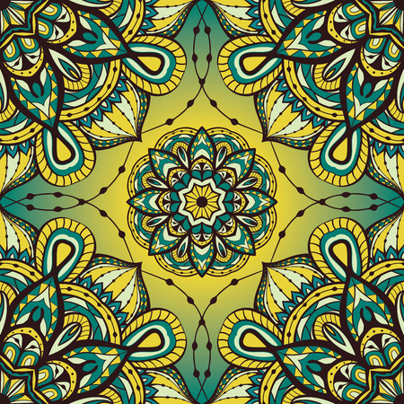 shawl: Seamless ornate pattern with mandalas. Template for textiles, shawl, carpet, tile. Oriental filigree yellow and blue ornament. Illustration