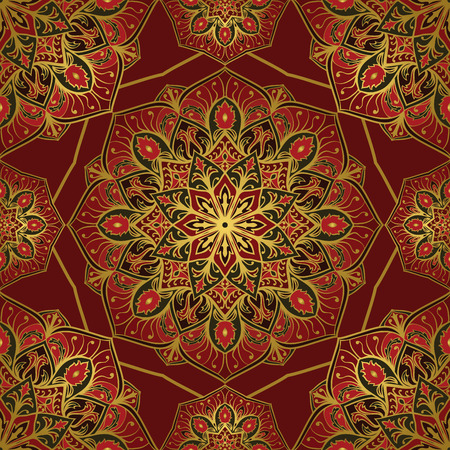 Rich colorful ornament of mandala on a dark red background. Template for oriental carpets, shawls, textiles, fabric.