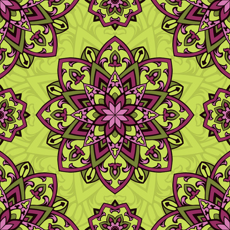 shawl: Colorful vector ornament. Seamless pattern of mandalas on a yellow background. Template for shawl, carpet, wallpaper.