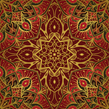 Oriental red and gold ornament. Template for carpet, cover, textile, wallpaper and any surface. Seamless vector pattern of gold contours on a red background. Stock Illustratie