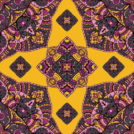 lilas: Seamless pattern of floral mandala on a yellow background. Oriental ornament. Template for carpet, shawl, wallpaper, embroidery. Illustration