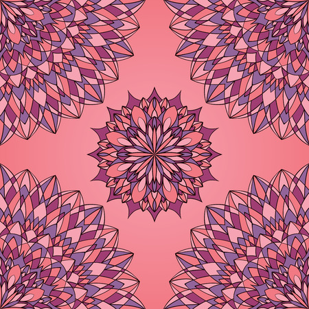 burgundy: Filigree pink and purple pattern of mandalas. Geometric oriental ornament. Template for textile.