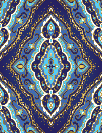 rich wallpaper: Seamless vector blue background with rhomboid element. Rich ornament with golden contour. Template for fabric, wallpaper, textiles, bedcover, carpet. Illustration