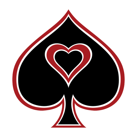 Vector suit of playing cards on a white background. Black spades with heart.