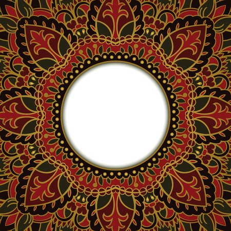 dvd cover: Oriental rich ornamental frame. Background with filigree ornaments and place for text. Vector card. Book cover, vinyl cover, CD, DVD cover. Illustration