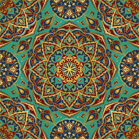 Seamless eastern pattern of mandalas on a turquoise background. Vector elegance ornament. Design for any surface. Stylized template for carpet.