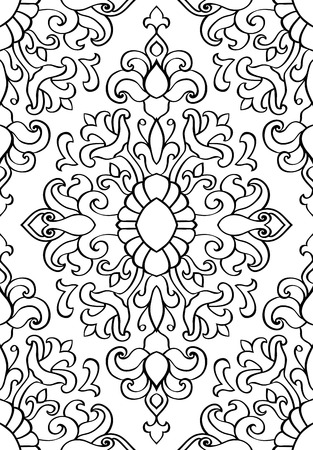 textile background: Oriental abstract ornament. Templates for carpet, textile, wallpaper. Seamless floral pattern of black contours on a white background. Illustration
