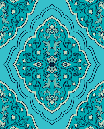 bedcover: Seamless vector blue background with damask.Template for fabric, wallpaper, textiles, bedcover, carpet.