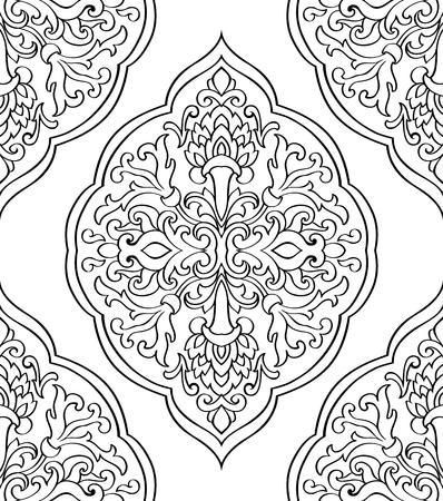 동양 추상 장식입니다. 카펫, 직물 및 기타 표면을위한 템플릿. 흰색 배경에 검정 윤곽선의 원활한 벡터 패턴.