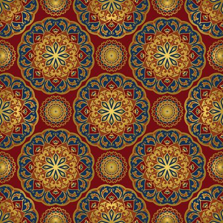Naadloos oosters patroon van mandala's op een rode achtergrond. Vector elegantie ornament. Ontwerp voor elk oppervlak. Gestileerde sjabloon voor tapijt. Vector Illustratie