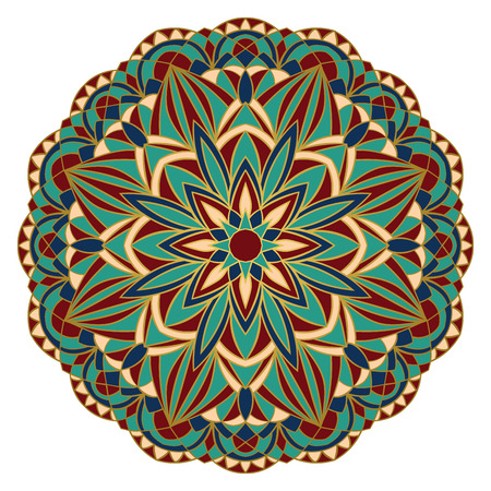 Vector geometric pattern. Rich ornament with gold contour and colorful details on a white background. Design element.