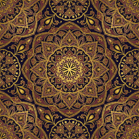 Seamless, eastern pattern of mandalas on a dark blue background. Vector elegance ornament. Design for any surface. Stylized template for carpet.
