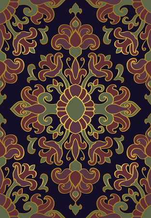 lilas: Colorful, floral ornament. Template for oriental carpet, textile, shawl and any surface. Seamless vector pattern of gold contours on a dark blue background.