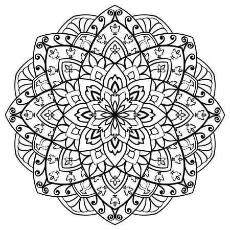 Vector Kontur Mandala auf einem weißen Hintergrund. Oriental Ornament. Rund Element für Design. Skizze für Tattoo. Standard-Bild - 62275509