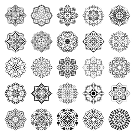 simple: Set of mandalas. Collection of stylized vector ornaments. Template for embroidery.  Sketches for henna tattoo. Simple design elements.